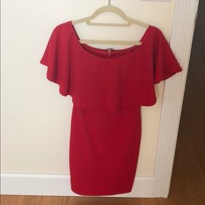 Red off the shoulder mini dress from Nordstrom